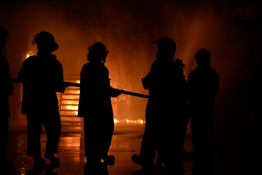 firefighter at a night fire