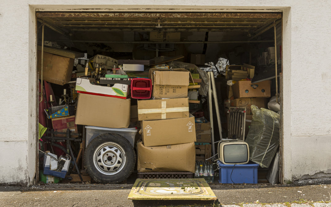 Garage full and stuffed with boxes and with stuff